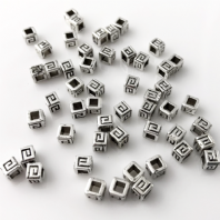 100 Antique Silver 4.5x4mm Cube Spacer Beads
